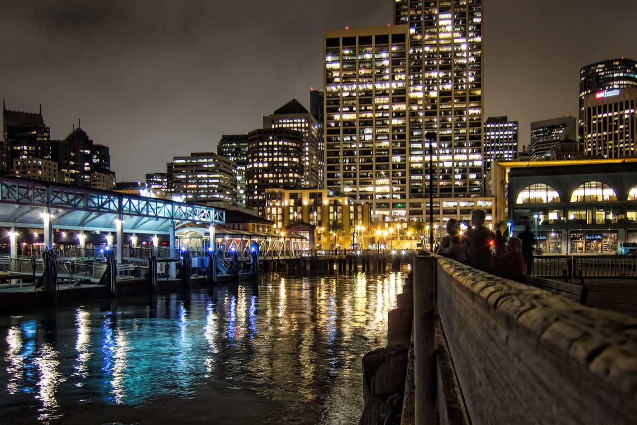 Colorful night down by the waterfront in San Francisco.