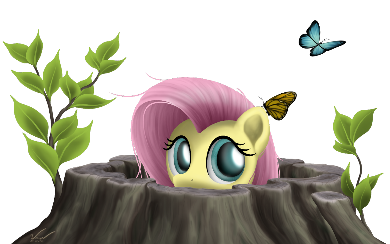 """""""Peek - Fluttershy"""". I finished it… Lelz. XD Still looks ultra random to me. She just peeks out and goes """"Um… hi."""" A larger version of this is available on my DeviantART ^_^"""