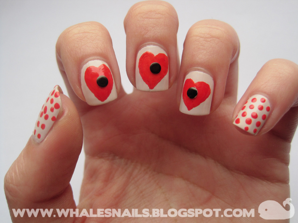 Poppy Hearts http://www.whalesnails.blogspot.com/2013/01/nail-art-sunday-poppy-hearts.html