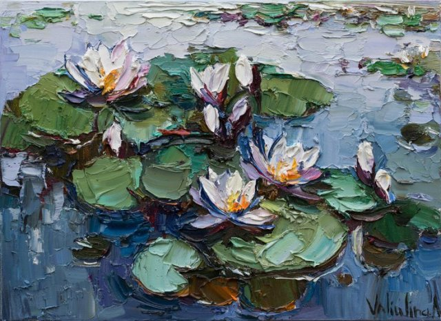 White water Lilies - Original impasto Oil painting by Anastasiya Valiulina Oil paintingOriginal oil painting with beautiful white water lilies in pond. Painted with brushes and palette knife on canvas. This work … #oil#painting#art#lillies#modern art#large painting#flower painting#water lily