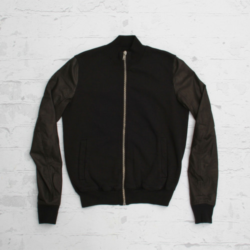 Rick Owens Zipped Leather Sleeve Jacket