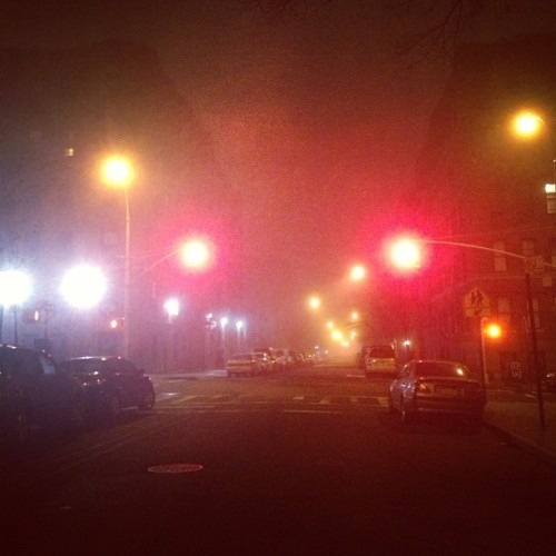 Foggy night… #bronx #foggy #night #streetlights #street
