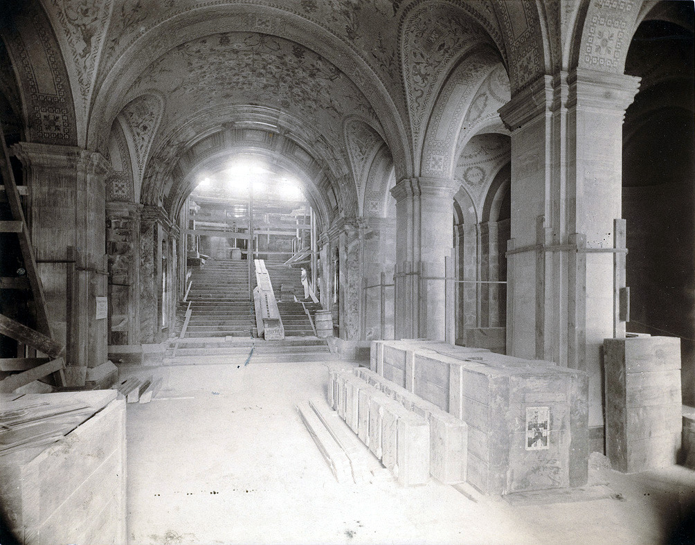 The entrance hall of the Boston Public Library during construction, Boston