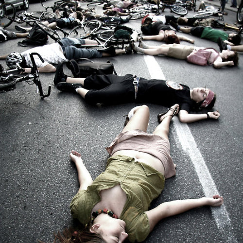 cyclivist:  The Montreal Die - In.  A peaceful protest against...