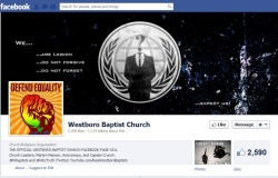 coolscar:  rickyraccoon91:  Anonymous hacked Westerboro Baptist Church's facebook page. This happened.  marilyn manson, anonymous, and captain crunch.