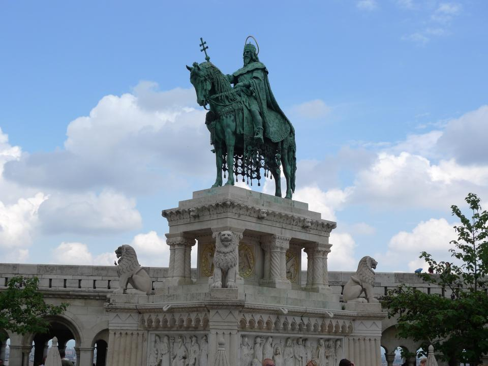 Alajos Strobl, Sculpture of King Saint Stephen of Hungary, standing on the Buda Castle, at Fishermen Bastio
