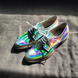#Bullettshop Step into the #future with these #reflective #hologram #miista shoes available at shop.bullettmedia.com #bullett #swag