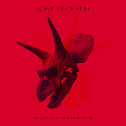 Cover of Alice in Chains' album The Devil Put Dinosaurs Here, out May 14.Tracklist:1. Voices2. Low Ceiling3. Stone4. The Devil Put Dinosaurs Here5. Hollow6. Lab Monkey7. Hung on a Hook8. Pretty Done9. Breath on a Window10. Choke11. Phantom Limb