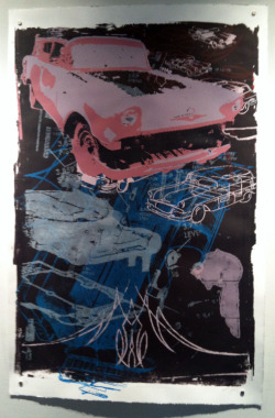 24x38 screen-print featuring a 1957 Pontiac Safari, editions for sale & full set of 5 for sale, email for info- better photographs to come