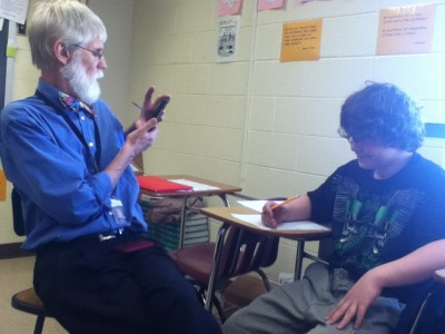 mccartknee:  My math teacher started filming this kid because he started doing his work for the first time all semester