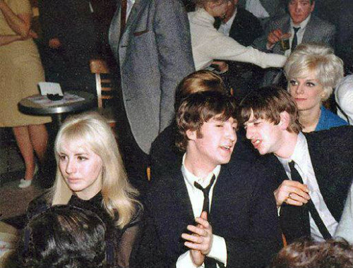 Peppermint Lounge February 9, 1964 - Cynthia, John and Ringo (with Geri Miller sitting on his lap, cut out of the photo). My scan and retouching altered to remove my tag. Maybe beatlesgarden would prefer tags across people's faces in the future? Source of scan is the Cynthia Powell Lennon group at Yahoo!