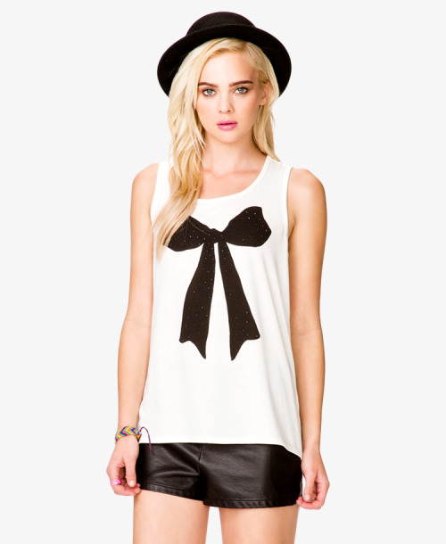 High - Low Rhinestoned Bow Tank Forever21.com - $13.80