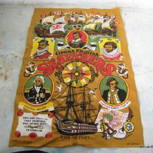 Great #english seafarers #nautical #vintage tea towel like new up in the shop https://www.etsy.com/listing/124825264/linen-towel-great-english-seafarers
