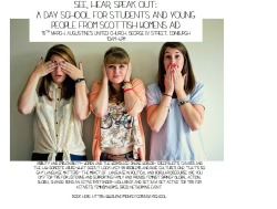 See, hear, speak out; our day school for students and young people will be on the 16th March in Edinburgh book today! https://www.surveymonkey.com/s/dayschool