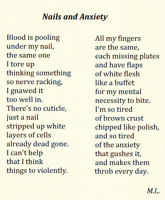 Written 3/22/2013  (I wrote this after badly biting one of my nails)