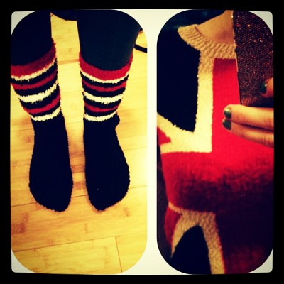 #whatimwearingtoday - #unionjack #cozy #socks + #sweater #uk