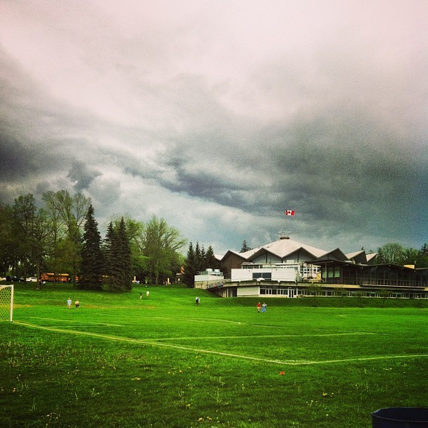 Moody #clouds above the #Stratford Festival Theatre and #lawn