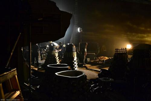 """doctorwho:  Here is a new behind the scenes image from 'The Day of The Doctor'  Because this image is what the """"reblog yourself"""" feature was built for."""