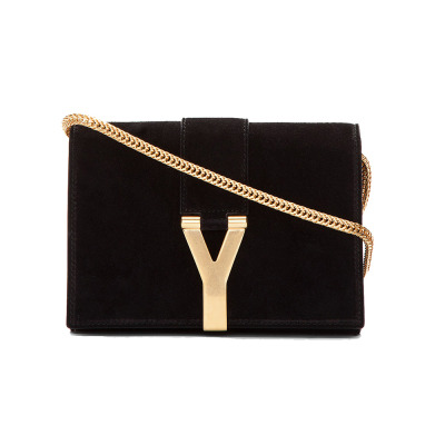 oh-like:  OhLike: Saint Laurent Suede Chyc Logo Clutch