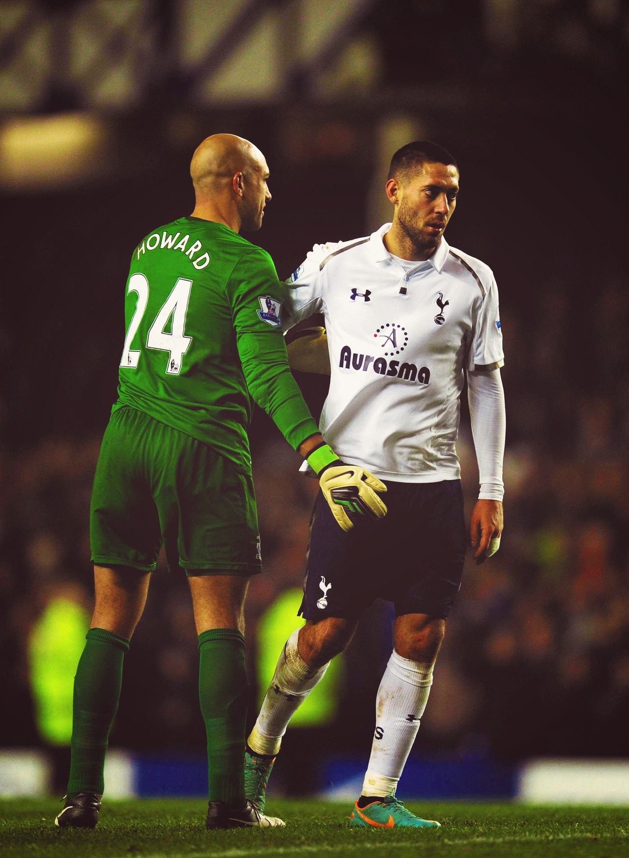 fyeahclintdempsey:  Tim Howard and Clint Dempsey after the game.  Stu Forster/Getty