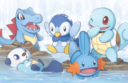 blackthorngym:  The Water Starters by ~zimmay