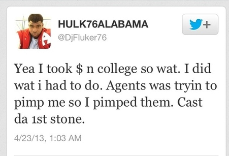 Alabama's D.J. Fluker tweeted he took money in college, then quickly deleted it and said he was hacked.