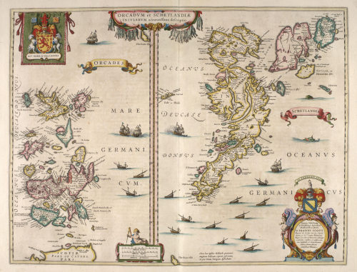 perfectnonfreedom:  Blaeu Atlas of Scotland, 1654 - Orkney and Shetland islands.