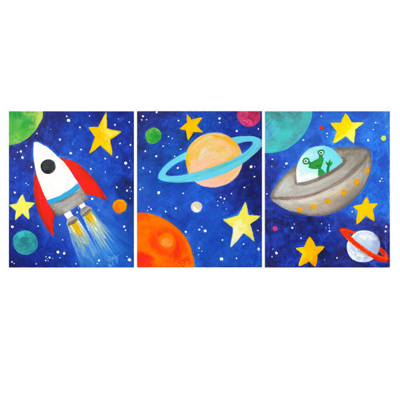 (via Kids Wall Art PRINTS Three Space Themed 8x10's Soler by nJoyArt)