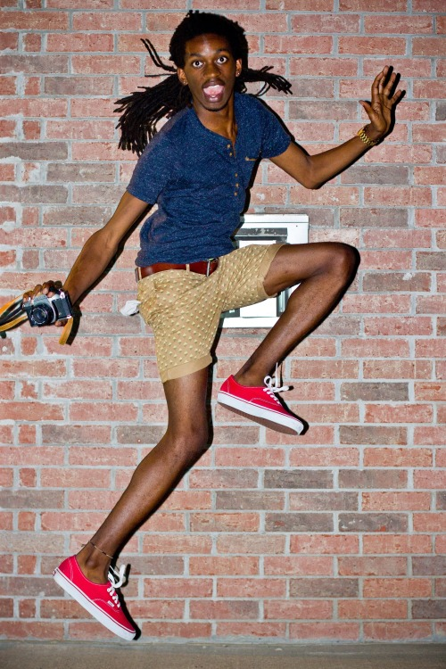 blackfashion:  Shirt: Diesel, Shorts: Original Penguin Diamond-Print Margate Fit, Shoes: Vans Original Classic Authentic, Belt: Fossil, Watch: Dulce & Gabbana Time.   TaZonio Anderson. 21. Maumelle, Arkansas.  Submitted by: spaztazztic.tumblr.com  Shorts are supposed to be short.