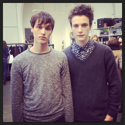 Stephen Smith and Nick Heymann backstage at Margaret Howell AW 2013