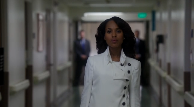 "In episode 2x10 - One for The Dog, Olivia Pope was that girl for fire. As soon as Verna walked into OPA with that explosive confession (re: she turned in Huck), Olivia hit the ground running wearing her Gladiator Armor (her white jacket). Let's do a recap of how Olivia put on her Gladiator Armor to handle business! [[MORE]] #GetHollis - She rallied Harrison and Abby to see there's any truth to what Verna had said about Hollis' other phone. I must give a #GladiatorOvation to team Abbison! (While Harrison sweet talk to Hollis' assistant Trixie, Abby got into her purse to secure the key to Hollis' office, access his office and cracked into Hollis' drawer. And what does she find there? There IS a second phone calling 202 555 0129. #BOOM) The Forged Letter. When Mellie admitted she wrote and signed the letter asking for Fitz's POTUS power to be resigned, it could be over at that point, right? Factor in Sally wanting to speak with Fitz (who is not awake but still in a coma), you can't help but feel it's over, right? Wrong! Olivia went into Gladiator mode and devise the Operation: Faking Fitz is Awake Campaign media blitz with OPA, Hal, Cyrus and Mellie all involved. #FreeHuck - When David stepped into her office telling her that Huck said that as long as Fitz is still alive he is still in danger. So what is Olivia's next move? Getting Sally to sign off on her #FreeHuck imitative. ""Read the summaries on pages 4 and 5."" When Olivia finally sees Huck, it hurts. #GetBecky - Now that Huck is free, the next step is to #GetBecky now. Remember how Olivia told Harrison to hold off on calling that number? Well that number was Becky's phone number. Which Gladiator calls Becky? Huck! ""Goodbye Edison."" Senator Edison Davis demanded answers in midst of Olivia's Operation: Faking Fitz is Awake Campaign media blitz. He needed to see Fitz face to face. Harrison was there to block his entry to see Fitz (who is still in a coma.)Because of who he is, the forged letter as Edison reminded her is grounds of treason. With Olivia saying to Edison that she is Fitz's friend, the Edison vs. Olivia drama started…and I don't see it being over until Edison finds out more. Fitz is still in a coma. In spite of the #FitzIsAwake Media Blitz, knowing Hollis called Becky, Becky's arrest, #FreeHuck, and Quinn & Edison wanting answers, Fitz is still in a coma. Olivia takes off her Gladiator armor. ""Someone wants to talk to you."" ""Hi."" ""Hi."" These words proved why Olivia Pope's that girl on fire. Anything and everything after ALL of this has changed the Scandal world. #ITJUSTGOTREAL"