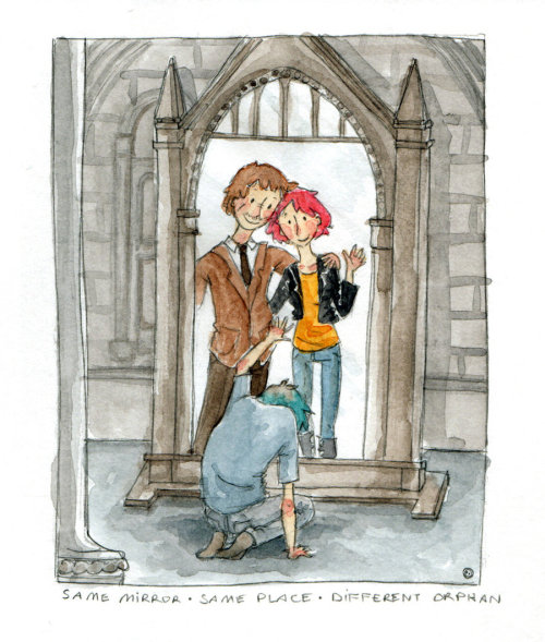a-bibliophile-hobbit:  padfootstolemycrumpet:  fuckyeahteddylupin:  Same mirror - same place - different orphan by *button-bird  *strangled cry*  how dare you