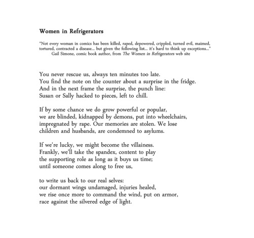 vega-ofthe-lyre:  Women in Refrigerators by Jeannine Hall Gailey