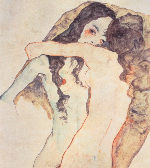 undare, pikeys:  Two Women Embracing, 1911 by Egon Schiele
