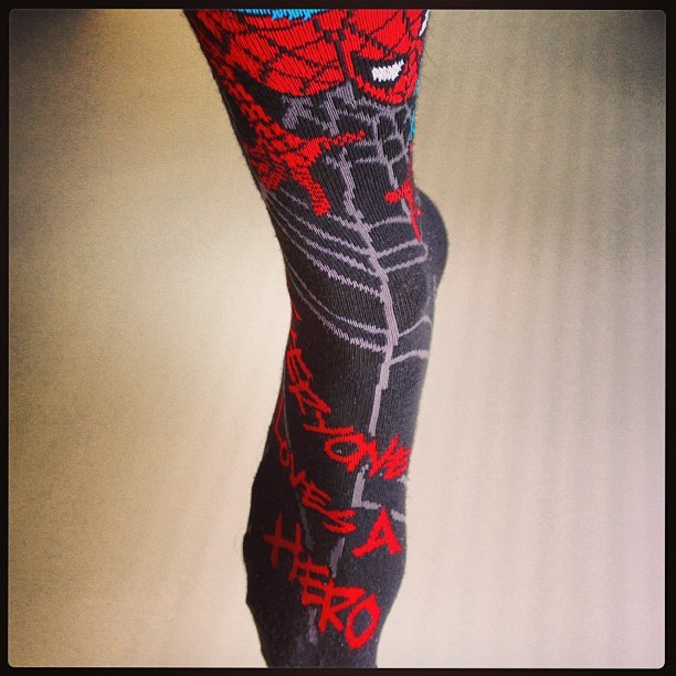 """Everyone loves a hero."" #spiderman #socks #marvel"