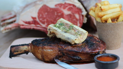 eatingyouremotions:  rib eye. chimichurri. bone marrow. death and heaven!