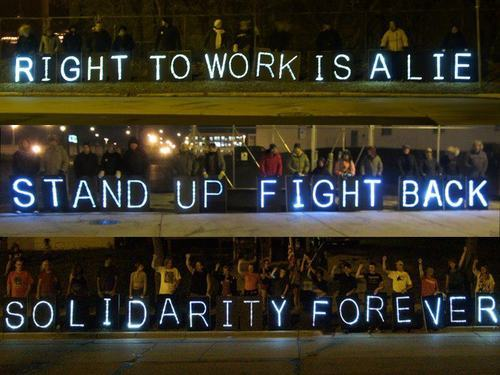 fuckyeahmarxismleninism:  Solidarity with Michigan workers - Overpass Light Brigade