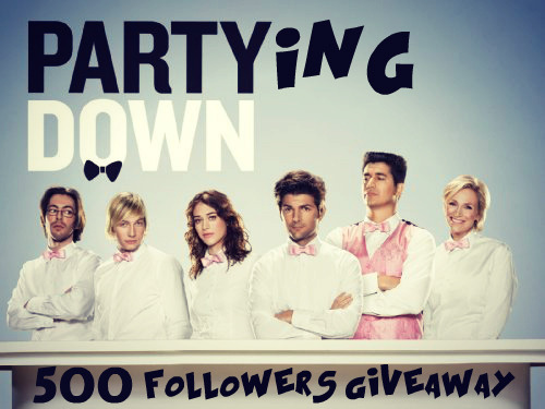 partyingdown:                    -WIN BOTH SEASONS OF PARTY DOWN ON DVD-We just hit 500 followers! It's great to see people love this show as much as I do. As a thank you, I'm holding this giveaway!Like or Reblog or both this post (one entry for a like, one entry for a reblog, you get up to two entries), and be following the partyingdown blog, and on May 31st I'll use a random generator to pick a winner. (I'll message you for your address so I can ship the DVDs) Good luck and thanks!