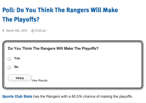 Do you think the NY Rangers will make the playoffs? - SNY Rangers Blog (Click thru to vote)