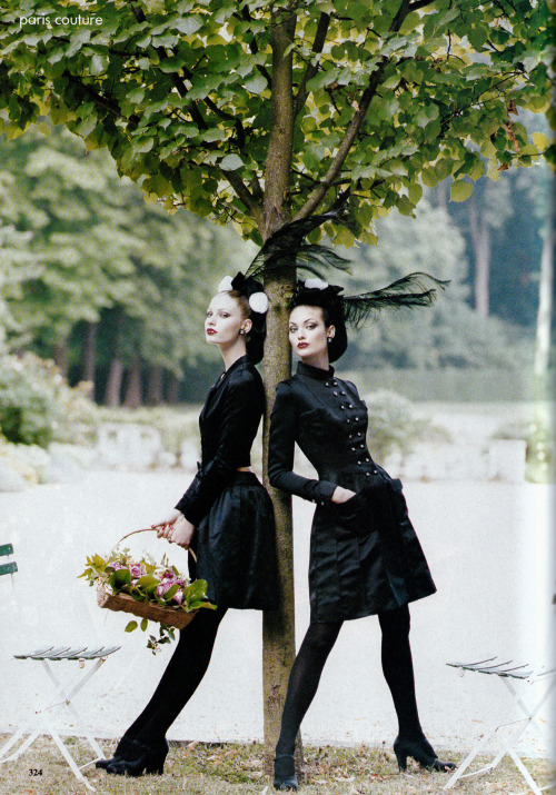 "80s-90s-supermodels:  ""Paris Couture : The Grand Tradition"", Vogue US, October 1994Photographer : Steven MeiselModels : Kirsty Hume & Shalom Harlow"