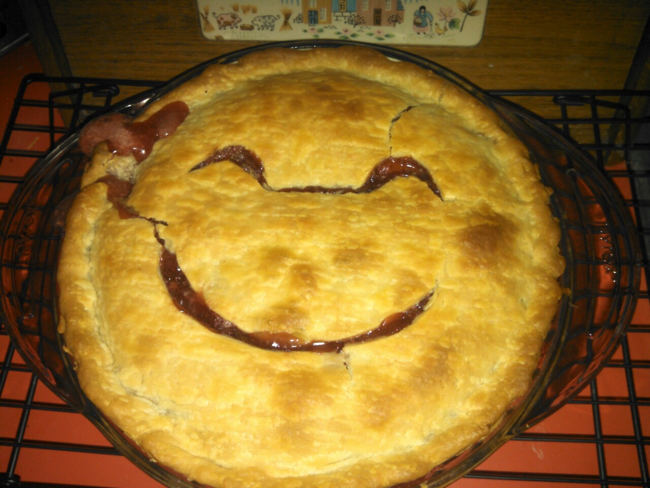 thunderdolt:  You guys! I made a pie for the first time. I was woefully short of the recipe-required strawberries, but I had already committed to the family. So, strawberry and (canned) peach pie. It's a thing, right? It looks like my pie is also in favor of gun control: :(