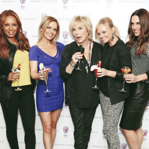 "Mel B, Geri Halliwell, Emma Bunton & Melanie C with Jennifer Saunders at Harvey Nichols for the launch of the ""Viva Forever! Cocktails"". (Feb 5)"