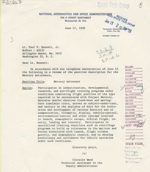 "todaysdocument:  NASA announces the selection of the first astronauts, aka the ""Mercury Seven,"" on April 9, 1959  Position Description for Mercury Astronaut  (More on Project Mercury)"