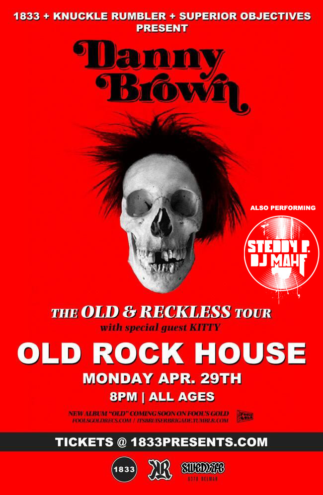Steddy P & DJ Mahf opening for Danny Brown at Old Rock House Monday, April 29th 1200 S 7th St  St Louis, MO 63104(314) 588-0505  tickets are still available now: http://presents.knucklerumbler.com/event/241847-danny-brown-st-louis/