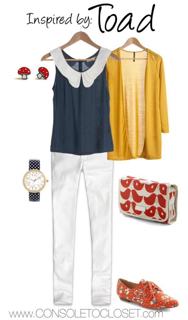 Toad (Mario Series) by ladysnip3r   ModCloth - Banana-glams Cardigan, $33/ ModCloth - Retro Bike Ride Top, $35/ ModCloth - Walk on Flair Flat, $38/ ModCloth - City of Fluttering Love, $40/ Hollister - Super Skinny Jeans, $53/ Etsy - Lil' Mushrooms Post Earrings, $11/ Betsey Johnson - Polka Dot Strap Watch, $95 This adorable outfit is inspired by the equally adorable Toad from the Mario games. I wanted to do something really cute, just like the character, so I chose bright colors and fun prints. I started with white pants, just like Toad's, uh, diaper. I then found a navy blue tank top with an adorable peter pan collar. I paired that with a mustard colored sweater and polka dot navy watch. I really wanted to bring in reds and whites just like Toad's hat so I chose a floral oxford flat, printed bag, and mushroom studs. This outfit is perfect for once this snow starts melting! Reference: