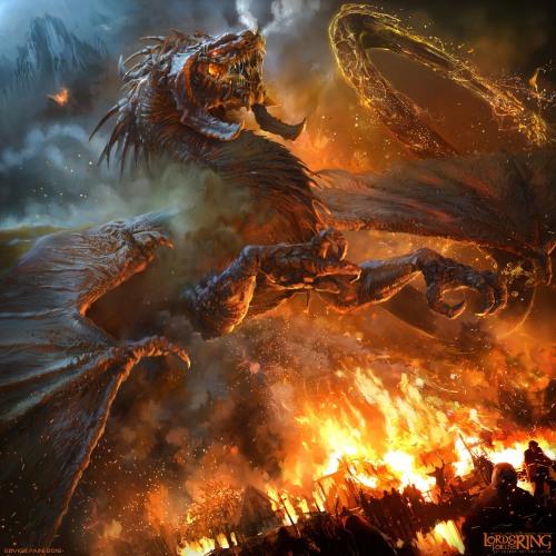 the hobbit smaug dragon rage fantasy j.r.r. tolkien fan art