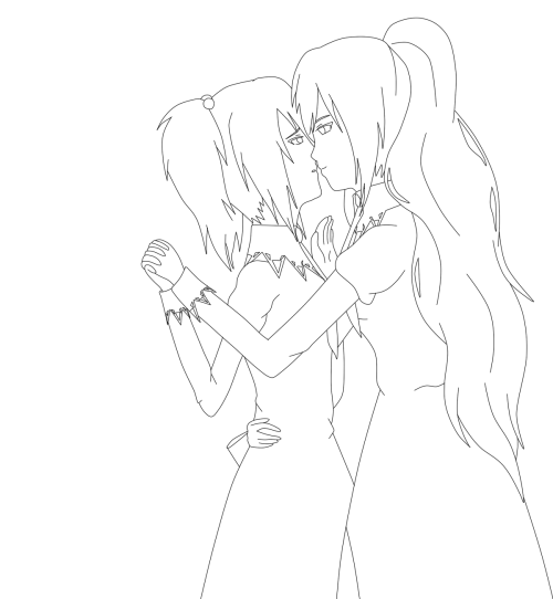 "A lineart of my first drawing for Strawberry Panic! anime :'3 Yep, I suck at such style, never drew like this before >w<"" But I still like it o3o Shizuma x Nagisa 4EVER!!! <333"