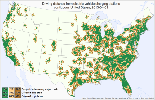 mapsontheweb:  Driving Distance from Electric Vehicle Charging Stations | Contiguous United States - 2013-04-01Source