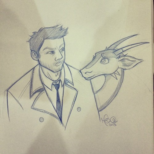 whipstickisses:  Commission of #supernatural 's Castiel and dragon friend!  I totally forgot to ask if you could do angel wings for Castiel. Would it be cool if I paid you to add them the next time I see you at a con? Again, thank you so much for the drawing!