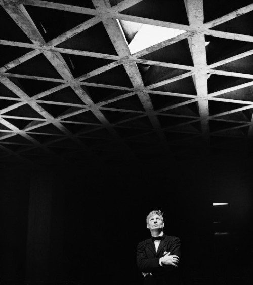 Louis Kahn at the Yale University Art Gallery, c. 1953. Photograph courtesy of Lionel Freedman via Archdaily
